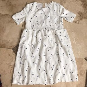 Calf length white dress